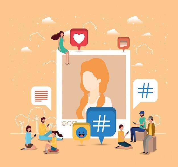 Soziale gemeinschaft mit frauenprofilbild Premium Vektoren