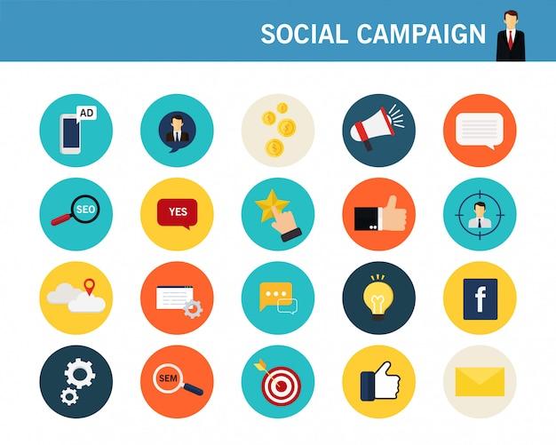 Soziale kampagnenkonzept flache ikonen Premium Vektoren