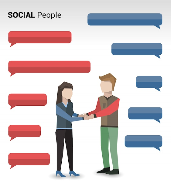 Soziale menschen drucken Kostenlosen Vektoren