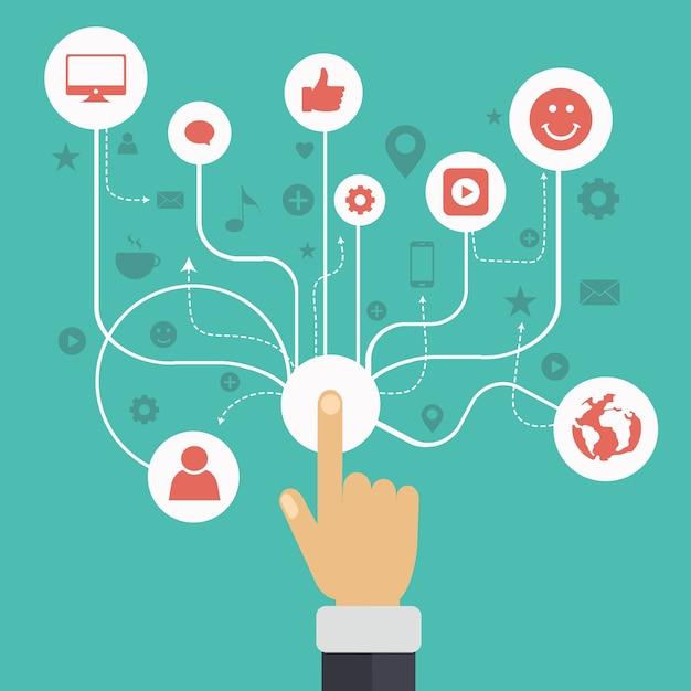 Soziale netzwerk-kommunikation Kostenlosen Vektoren