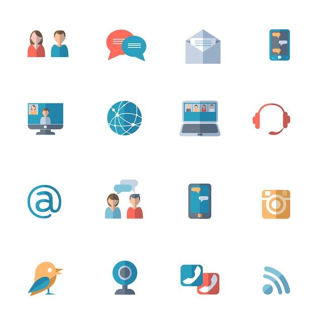 Soziale netzwerke icons set Kostenlosen Vektoren