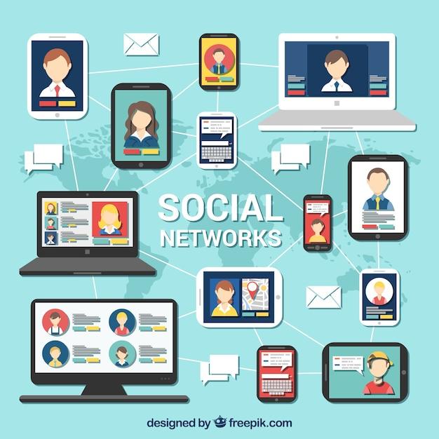 Soziale netzwerke infografik Kostenlosen Vektoren
