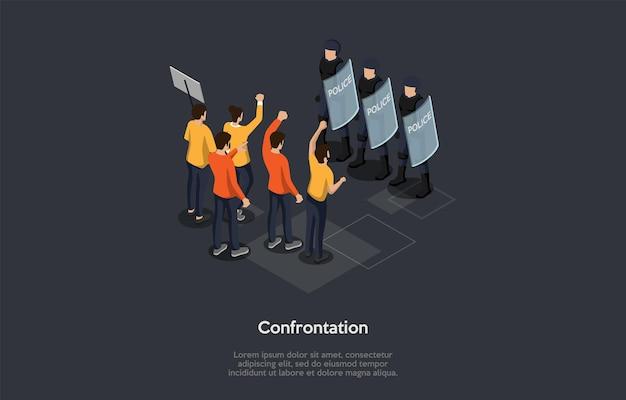Soziale treffen, konfrontation, proteste und chaotische unruhen konzept. eine gruppe protestierender menschen, die vor polizisten in helmen stehen, die schilde halten Premium Vektoren
