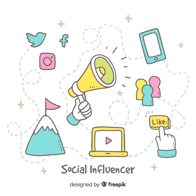 Sozialer influencer hand gezeichneter hintergrund Kostenlosen Vektoren