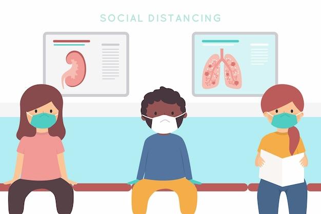Soziales distanzierendes hintergrundkonzept Kostenlosen Vektoren