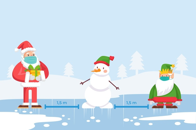 Soziales distanzierungskonzept mit weihnachtsfiguren Premium Vektoren