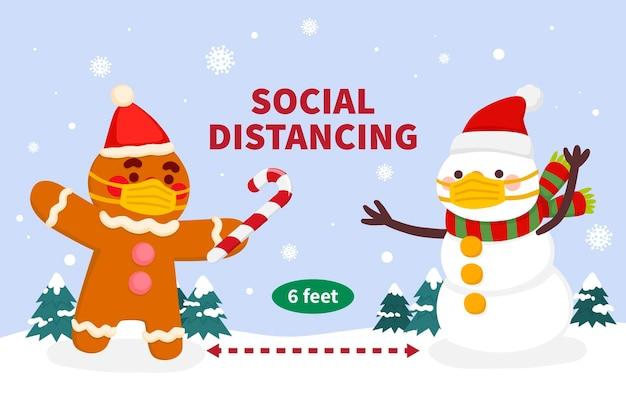 Soziales distanzierungskonzept mit weihnachtsfiguren Kostenlosen Vektoren