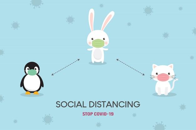 Soziales distanzierungskonzept. prävention von coronavirus (covid-19) abbildung. netter bär, eisbär und fuchs charakter tragen medizinische maske. stoppen sie coronavirus. Premium Vektoren