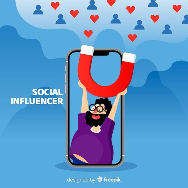Soziales influencer-konzept Kostenlosen Vektoren