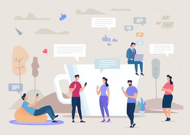 Soziales netzwerk gemeinschaft flache konzept Premium Vektoren