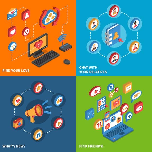 Soziales netzwerk icons isometric set Kostenlosen Vektoren
