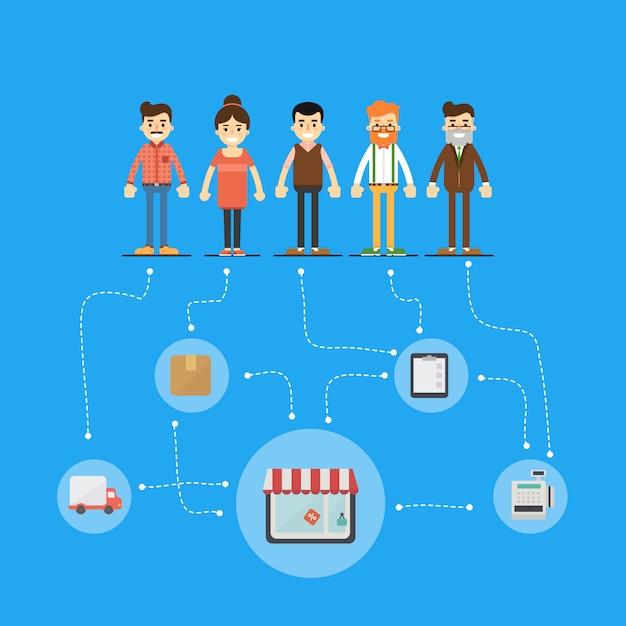 Soziales netzwerk und teamarbeit illustration Premium Vektoren
