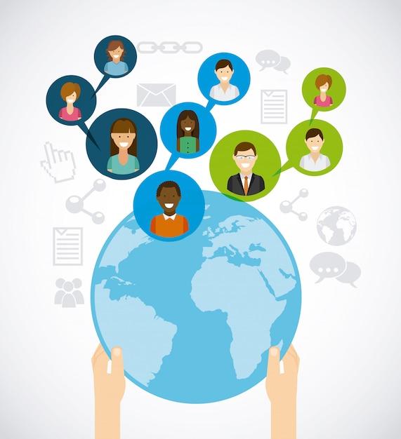 Soziales netzwerk Premium Vektoren
