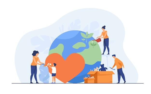 Soziales team hilft wohltätigkeit und teilt hoffnung Kostenlosen Vektoren