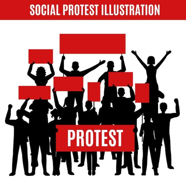 Sozialprotest-silhouetten-zusammensetzung Kostenlosen Vektoren