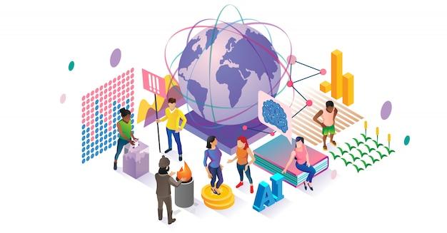 Sozialwissenschaftliches isometrisches konzept Premium Vektoren