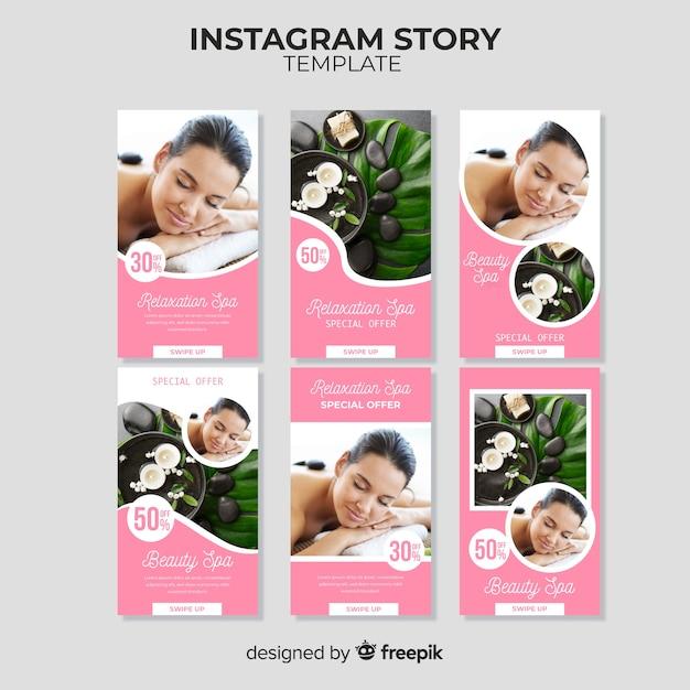 Spa instagram geschichten vorlage Kostenlosen Vektoren
