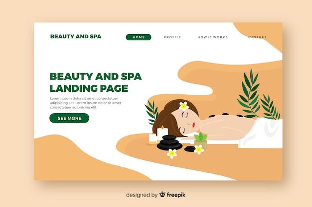 Spa landing page template mit einer frau Kostenlosen Vektoren