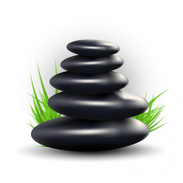Spa mit zen stones und gras Premium Vektoren