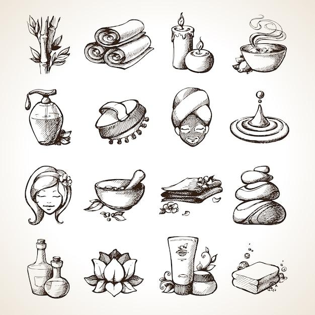 Spa-skizze-symbole Kostenlosen Vektoren