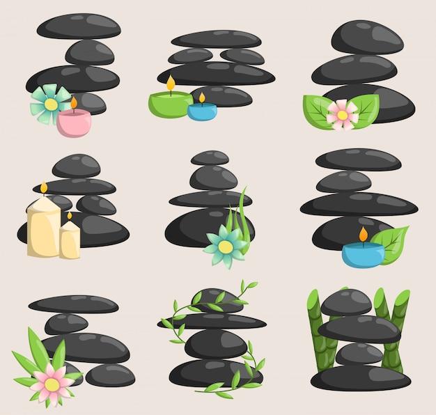 Spa steine isoliert vektor und entspannung isoliert. steine stapeln isolierte kieselkonzepttherapie, haufen spa steine schönheit ruhig entspannen. Premium Vektoren
