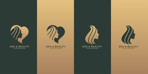 Spa- und beauty-logo-set Premium Vektoren
