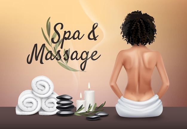 Spa und massage. junges mädchen, handtücher, massagesteine, kerzen. Premium Vektoren
