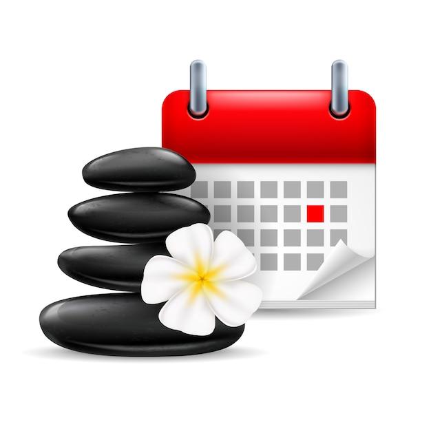 Spa-zeitsymbol: schwarze steine mit blume und kalender mit markiertem tag Premium Vektoren