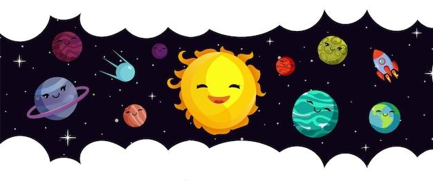 Space banner vorlage. vektor-cartoon-planeten, sonnensystem und rakete. universum und sternenhimmel. illustrationsplanet und himmelsraumkarikatur Premium Vektoren