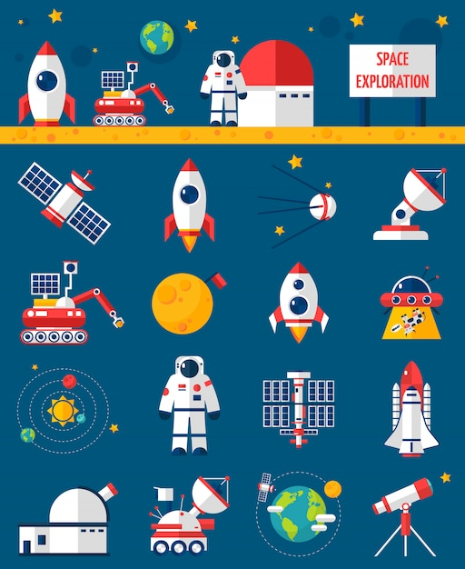 Space cosmos exploration flache icons set Kostenlosen Vektoren