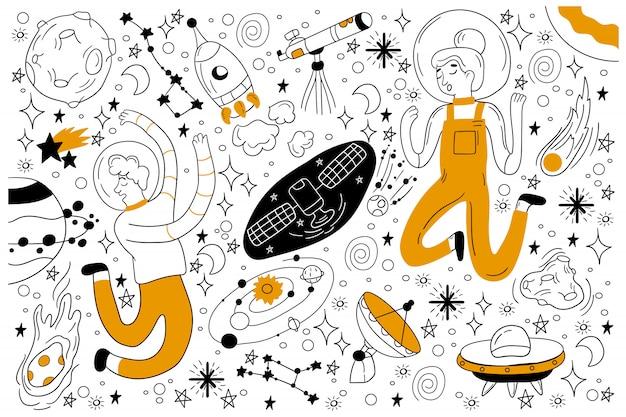 Space doodle set Premium Vektoren