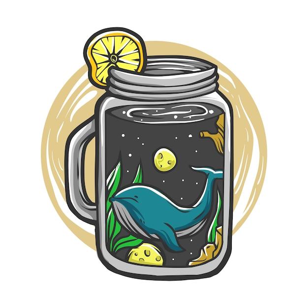 Space drink squash mit blauwalen und monden Premium Vektoren