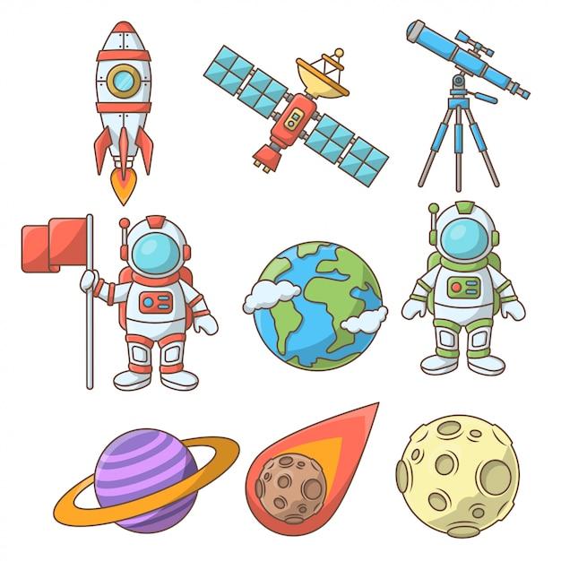 Space-element-auflistung Premium Vektoren