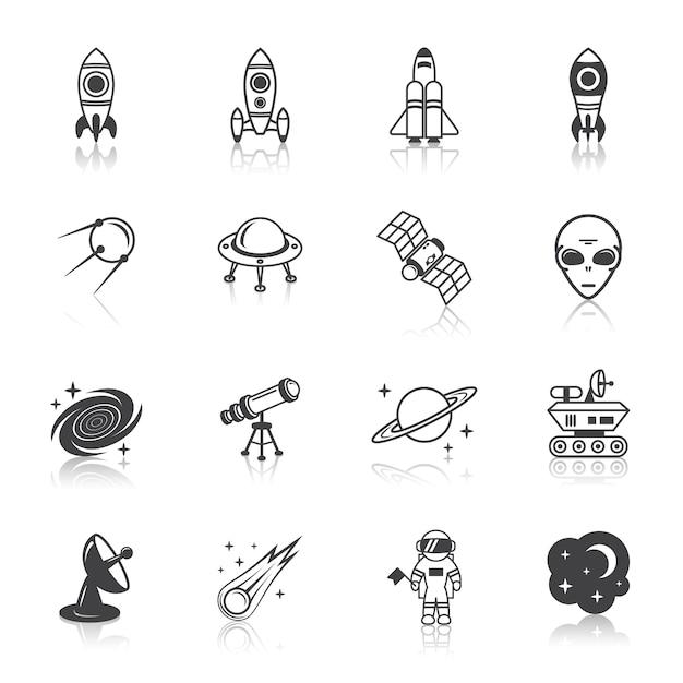 Space elements icons Kostenlosen Vektoren