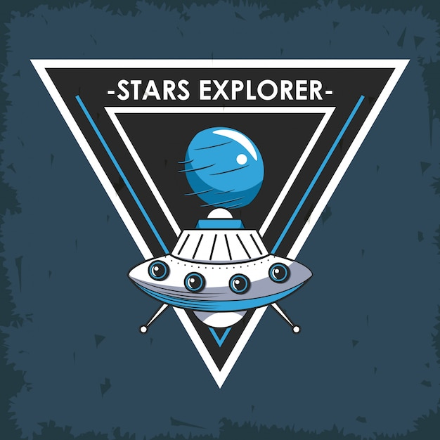 Space explorer patch emblem design Kostenlosen Vektoren