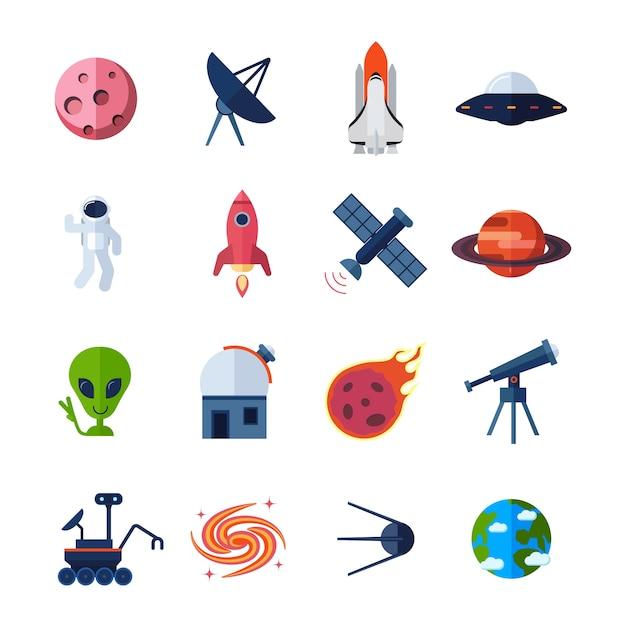 Space icons flach Kostenlosen Vektoren