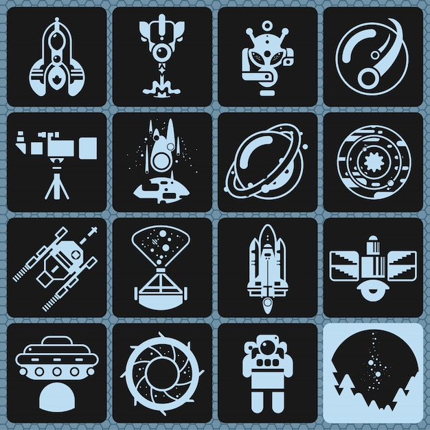 Space icons monochrome Kostenlosen Vektoren