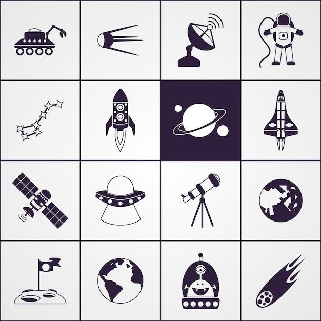 Space icons schwarz Premium Vektoren