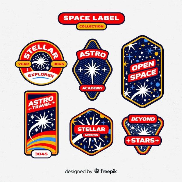 Space label-kollektion im vintage-stil Kostenlosen Vektoren