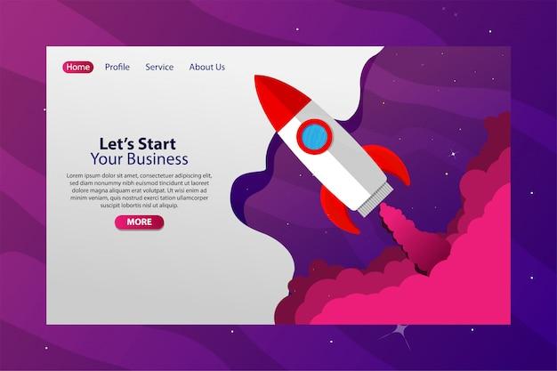 Space mit rocket fly startup business web banner Premium Vektoren