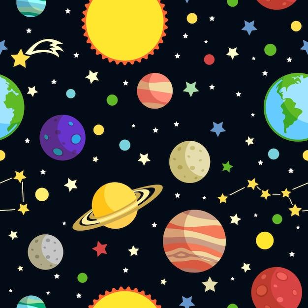 Space nahtlose muster mit planeten sterne kometen und konstellationen auf dunklem hintergrund vektor-illustration Kostenlosen Vektoren