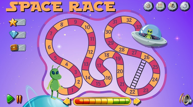 Space race brettspiel Kostenlosen Vektoren