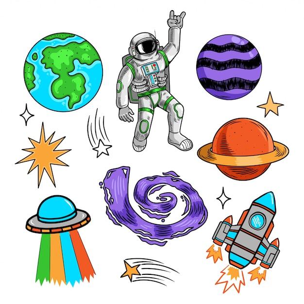 Space set bündel sammlung mit erde planeten sterne raumfahrer astronaut ufo rakete galaxie meteorit. Premium Vektoren