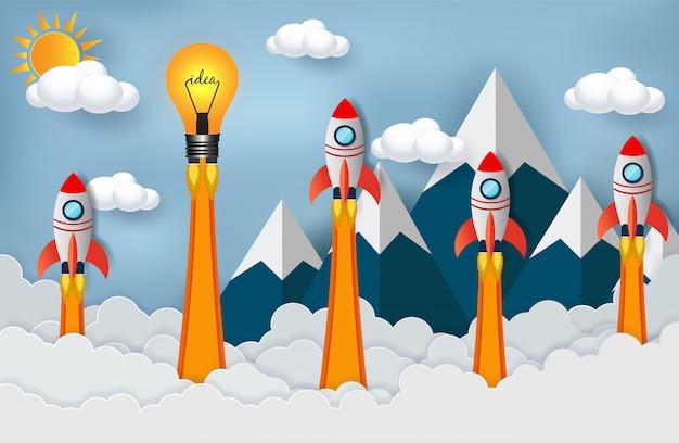 Space shuttle und lampe im wettbewerb um den erfolg Premium Vektoren