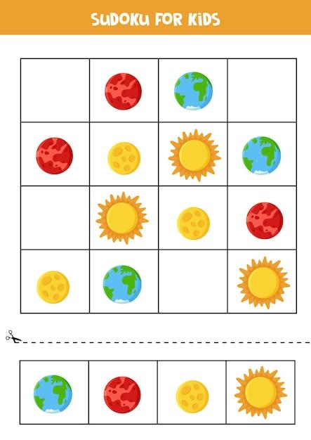 Space sudoku für kinder im vorschulalter. logisches spiel mit planeten. Premium Vektoren