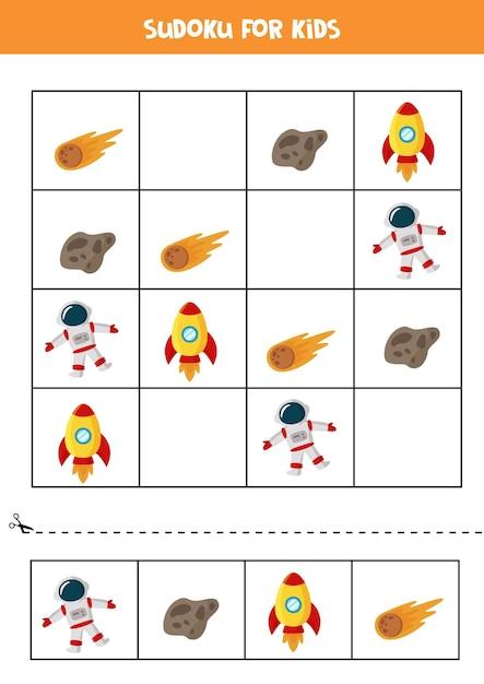Space sudoku für kinder im vorschulalter. logisches spiel mit rakete und astronaut. Premium Vektoren