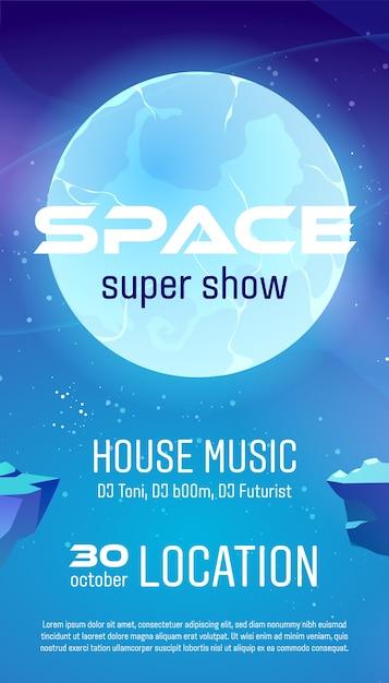 Space super show flyer, cartoon poster für house music konzert mit alien planet oberfläche und sternenhimmel. Kostenlosen Vektoren
