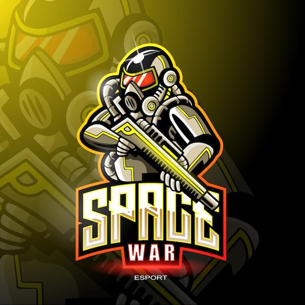 Space war maskottchen für gaming-logo. Premium Vektoren