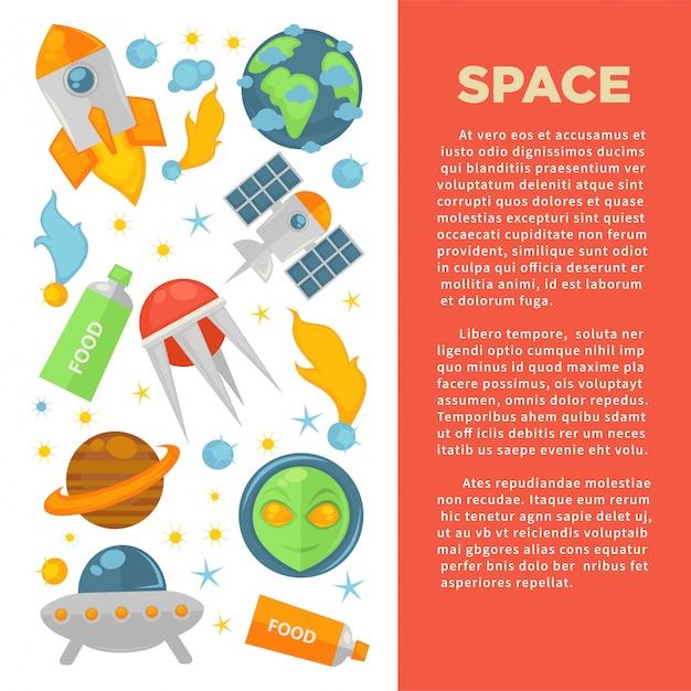 Space werbebanner Premium Vektoren