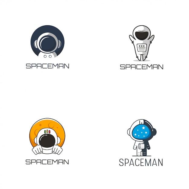 Spaceman logo design Premium Vektoren